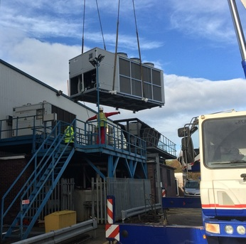 New Chiller being lifted into position